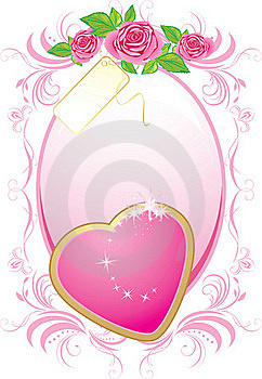 Pink Heart And Bouquet Of Roses In The Frame Stock Photos - Image: 17339623