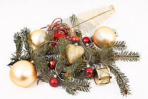 Gold Christmas Baubles Royalty Free Stock Photo - Image: 17341985