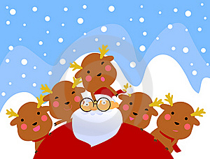 Santa And Rudolf Having Fun Stock Images - Image: 17344404