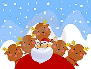 Santa And Rudolf Having Fun Stock Images - Image: 17344404