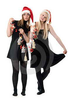 Two Girls In The Santa Hat Stock Images - Image: 17347654