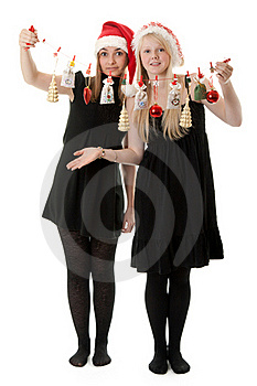 Two Girls In The Santa Hat Royalty Free Stock Image - Image: 17347656