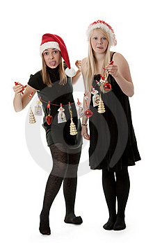 Two Girls In The Santa Hat Royalty Free Stock Images - Image: 17347659