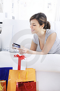 Young Woman In Shopping On-line Stock Image - Image: 17352021