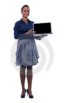 Young Attractive Businesswoman Holding Laptop Royalty Free Stock Image - Image: 17352836