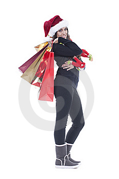 Woman Holding Christmas Shopping Bag Royalty Free Stock Photo - Image: 17353605