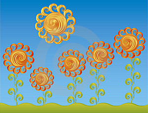 Decorative Flowers Under The Bright Sun Stock Photography - Image: 17355002