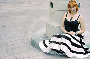 Young Red Woman In Flared Striped Black And White Stock Image - Image: 17356041