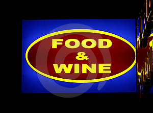 Food And Wine Sign Royalty Free Stock Photos - Image: 17356778