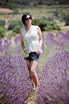 Chinese Girl In Lavender Field Stock Photo - Image: 17357220
