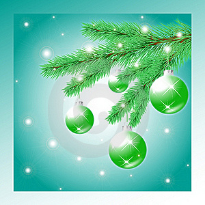 Christmas Tree Branch With Balls Royalty Free Stock Photos - Image: 17357618