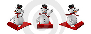 Three Snowman In Sled In White Stock Photo - Image: 17358600