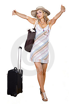Woman On Vacation With Beach Bag Royalty Free Stock Image - Image: 17363976