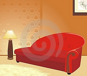 Red Sofa And Floor Lamp. Fragment Of Interior Royalty Free Stock Photography - Image: 17366437