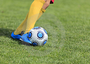 Kicking The Ball Royalty Free Stock Photography - Image: 17369687