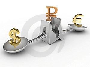 Crashed Scales With Money Symbols Stock Photo - Image: 17371700