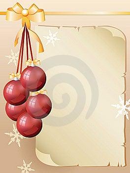 Greeting Card And Red Christmas Balls Stock Image - Image: 17373701