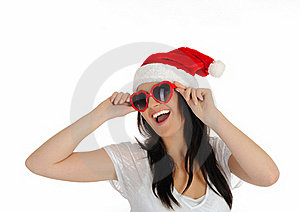 Funny Sexy Santa Clouse Woman In Casual Clothes Stock Image - Image: 17373761