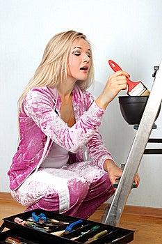 Woman Starting Renovations Stock Image - Image: 17373841