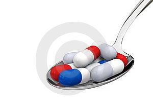 Pills On Spoon Stock Photos - Image: 17374623