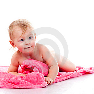 Beautiful Girl Curled On A Pink Blanket Royalty Free Stock Photo - Image: 17377605
