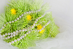 Necklace Of Pearls And Bouquet Of Chrysanthemums Royalty Free Stock Image - Image: 17382816