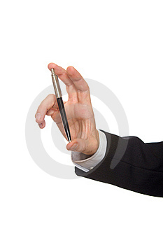 Well Shaped Businessman Hand With A Ballpoint Royalty Free Stock Photography - Image: 17383617