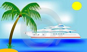 Blanching Sailboat Beside Tropical Coast Stock Image - Image: 17384941