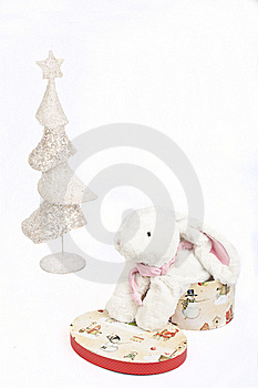 White Christmas Tree And A Toy White Rabbit Stock Photo - Image: 17385300