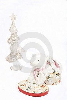 White Christmas Tree And A Toy White Rabbit Stock Photo - Image: 17385300