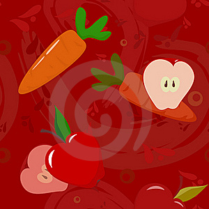 Apples And Carrots On Dark-red Background Royalty Free Stock Photography - Image: 17385317