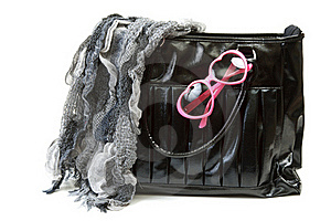 Feminine Bag With Scarf And Rose-colored Glasses Stock Photo - Image: 17387840