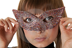 Beautiful Girl Wearing A Mask Stock Image - Image: 17388701