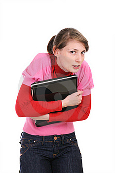 The Woman Presses To Itself The Laptop Stock Photos - Image: 17388973
