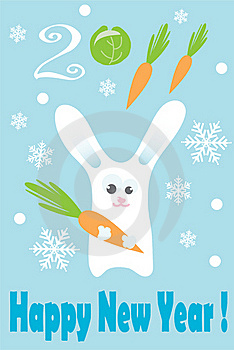 Rabbit With New Year Greeting Stock Image - Image: 17393441
