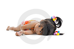 Cute Little Girl Laying Down Royalty Free Stock Image - Image: 17395506