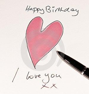 Handmade Romantic Birthday Card Royalty Free Stock Photography - Image: 17397997