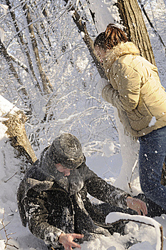 Teens Fighting With Snow Balls Stock Images - Image: 17398344