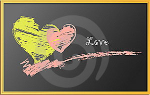 Hearts, Drawing On Blackboard Stock Photo - Image: 17398730
