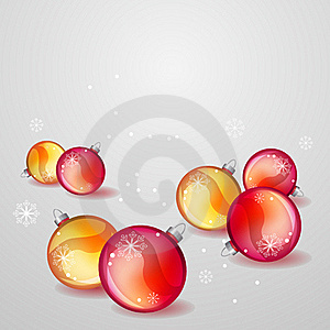 Christmas Greeting Card With Red And Gold Balls Royalty Free Stock Photos - Image: 17399998