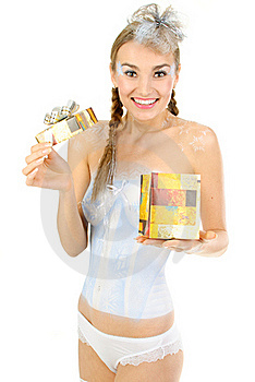 Sexy Winter Girl With Present Royalty Free Stock Photography - Image: 17400197