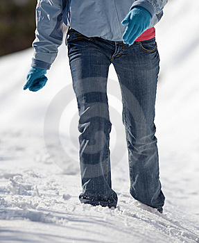 Woman Walking In Deep Snow Royalty Free Stock Photography - Image: 17400737