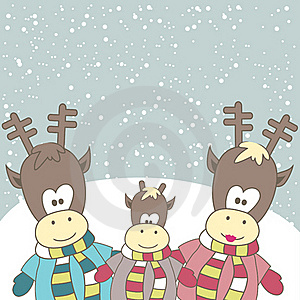 Christmas Card With Reindeer. Vector Illustration Royalty Free Stock Photos - Image: 17403028