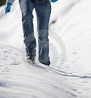 Woman Walking In Deep Snow Stock Image - Image: 17404621