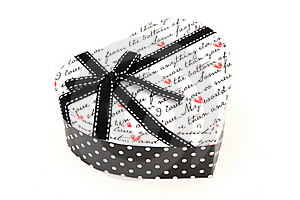 Isolated Black And White Holiday Gift Box In Hear Royalty Free Stock Images - Image: 17407219