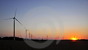 Wind Turbine During Sunset Stock Images - Image: 17407324