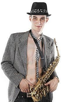 Jazz Man Posing With Saxophone Royalty Free Stock Image - Image: 17407846