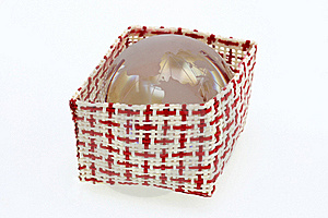 A Basket Of Red And White With World Crystal Globe Royalty Free Stock Photography - Image: 17408177