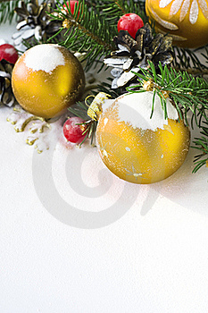 Xmas Tree And Baubles On The Snow Stock Photography - Image: 17412632