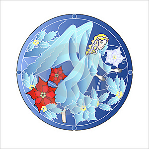 Blue Stained Glass Windows With Christmas Angel Royalty Free Stock Photo - Image: 17413005